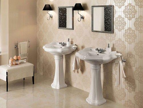 Bagno Design ~ Brilliant champagne damasque foto #rivestimenti #pastabianca