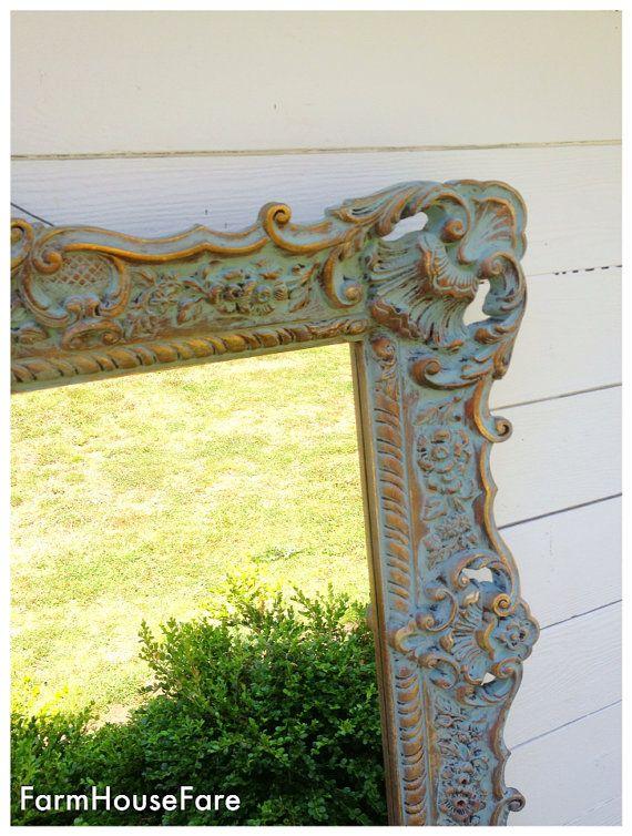 Large Wall Mirror Syroco Shabby Chic Annie Sloan By Farmhousefare 648 00 Ornate Mirror Large Wall Mirror Hanging Wall Mirror
