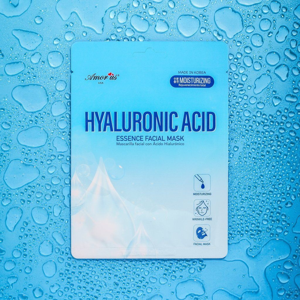 HYALURONIC ACID FACIAL MASK- MOISTURIZING AMOR US Cleanse your face and remove the sheet mask from package. Carefully place mask in face after unfolding, making sure that mouth, nose and eyes apertures are placed correctly. Keep mask on for 15-20 minutes and relax. Remove the mask from your face and gently massage the remaining essence into your skin. Continue with your usual makeup routine. INGREDIENTS: Water, Glycerin, Butylene Glycol, Niacinamide, Aloe Barbadensis Leaf Extract, Sodium Hyaluro