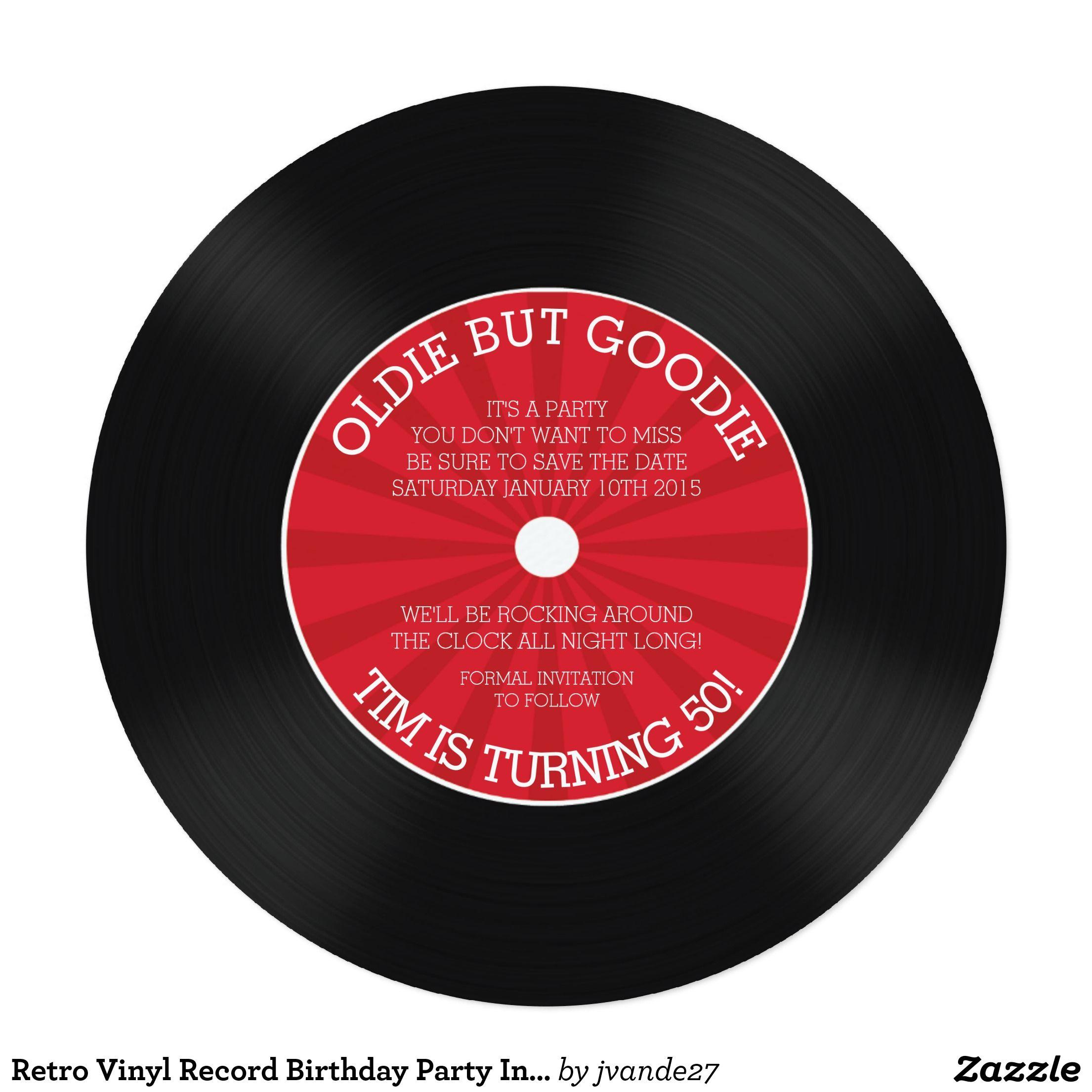 Retro Vinyl Record Birthday Party Invitation | Pinterest | Party ...