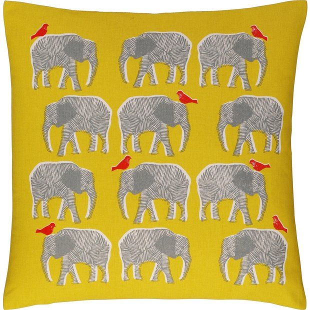 Habitat Topsy Elephant Pattern Cushion Yellow At Argos Co Uk Your Online For Cushions Home Furnishings And Garden