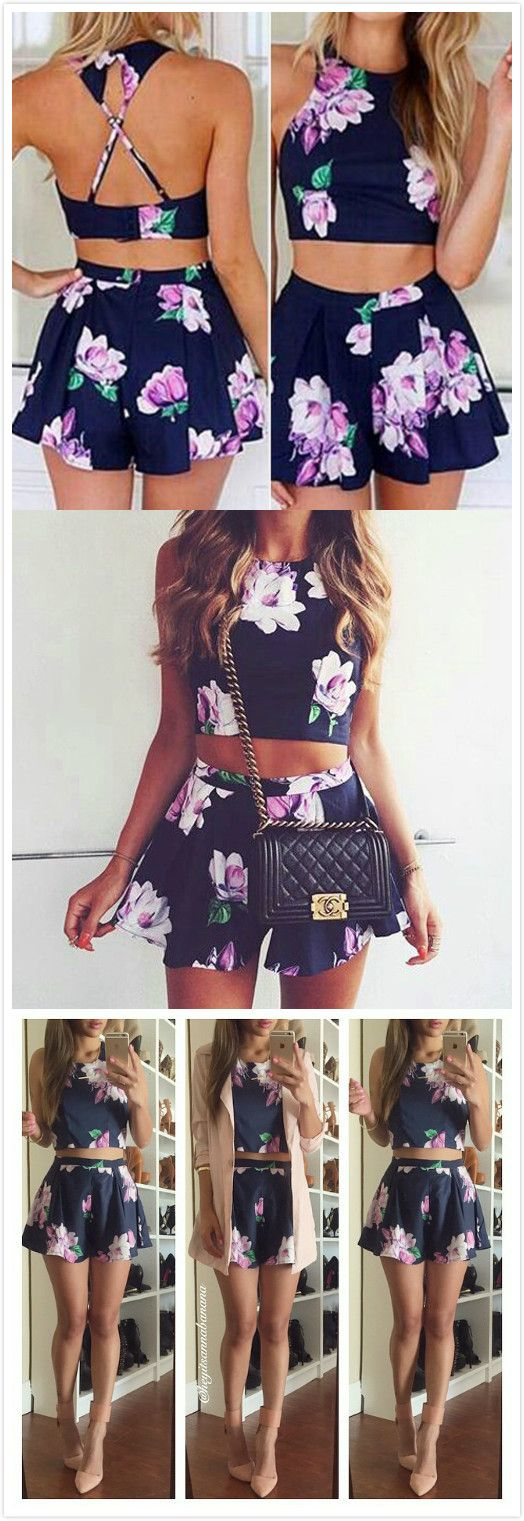 Criss Cross Back Floral Top With Shorts | Fashion | Pinterest ...