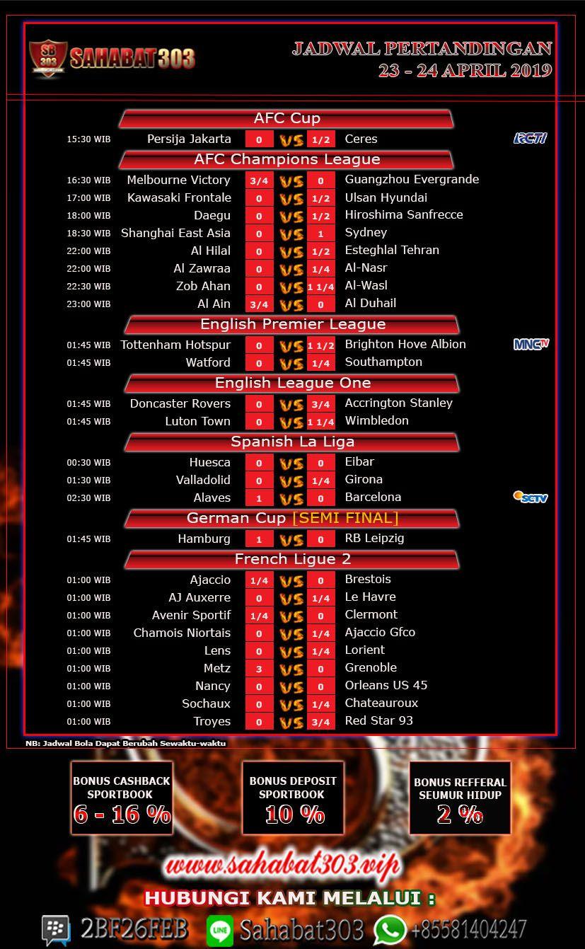 Jadwal Pertandingan Sepak Bola Tanggal 23 24 April 2019