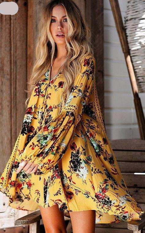 Huarll Women Summer Caual Loose Flare Long Sleeve V Neck Ruffle Bohemian Retro Floral Print Short Shift Dress Plus Size