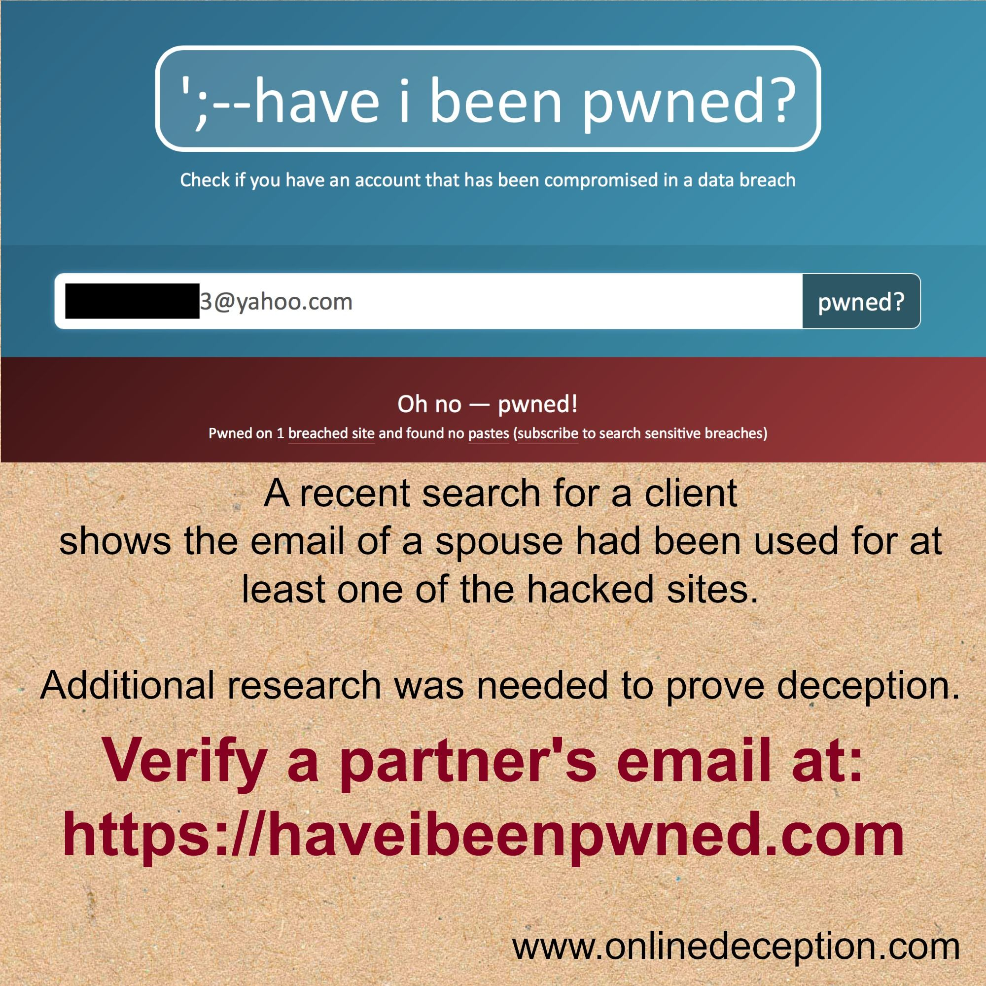 www.onlinedeception.com sharing a site to see if you or your spouse had your email address included in one of the many hacked sites like Ashley Madison.
