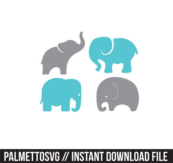 Baby elephants set svg dxf file instant download stencil silhouette ...