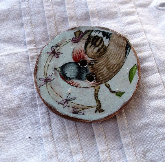 Reserved for Elajulia -   Huge Ceramic Art Button - The Bird is the Word  - 2 hole hand made ceramic button