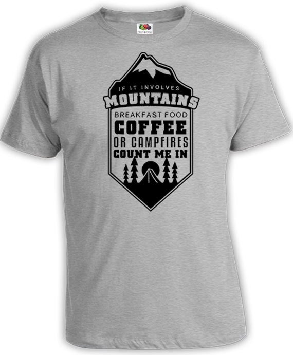 812e39cc60d4 Funny Camping Shirt Mountain T Shirt Coffee Lover Gift Camping Gifts  Mountain Clothing Coffee Shirt