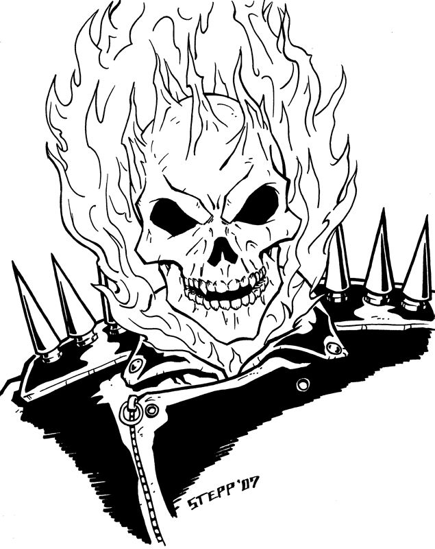 Ghost Rider by TheElysian on DeviantArt  Lineart Ghost Rider