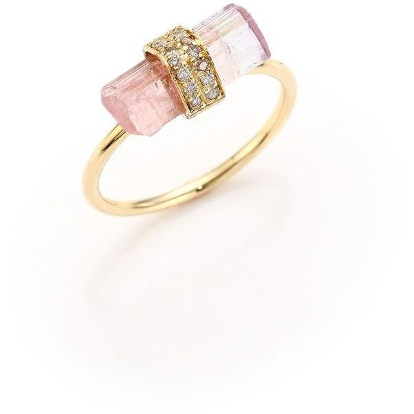 gold ring brl liked on polyvore featuring jewelry rings accessories gioielli jacquie aiche diamond rings pink ring 14 karat gold ring