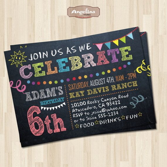 Chalkboard Birthday Party Invitation End of Summer Party Printable - best of invitation party card