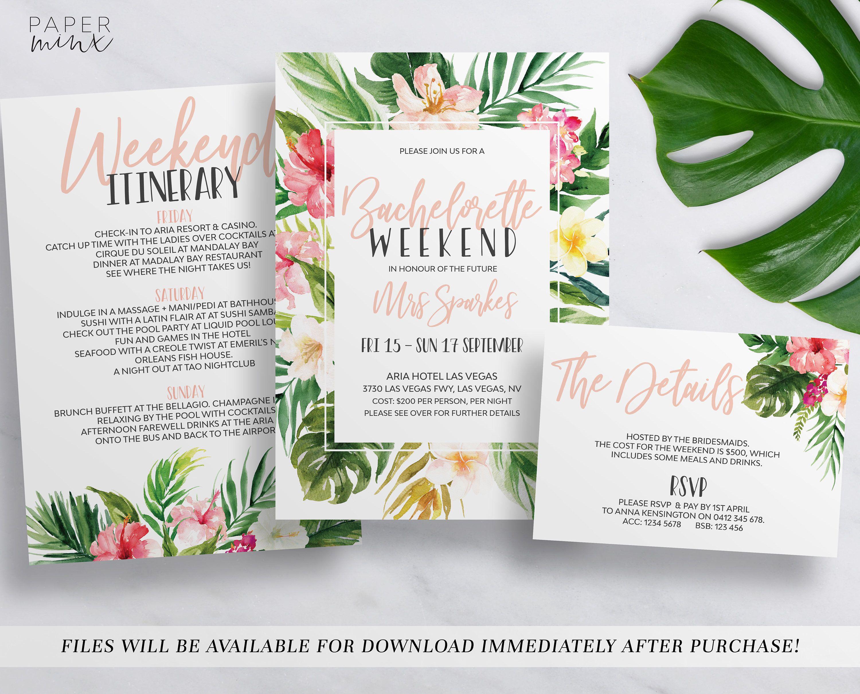 printable tropical bachelorette weekend invitation bachelorette