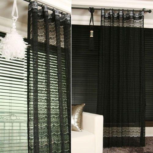 Handmade Black Lace Sheer Curtain Decorative Voile Net Drapery