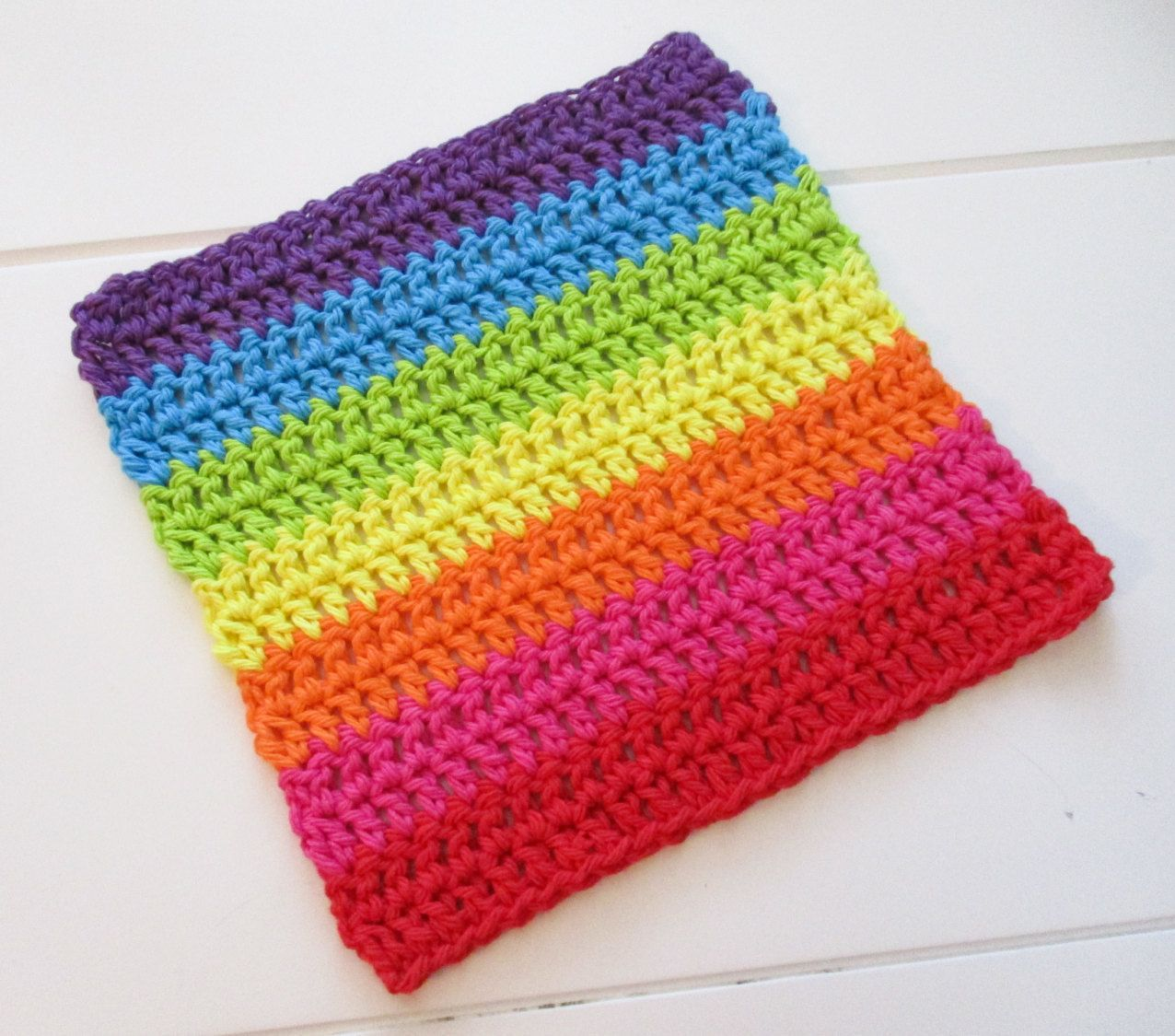 Rainbow Stripes Crochet Cloth » Rainbow Cotton Cloth » Crochet ...