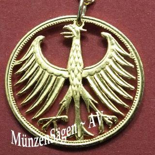 Münzen 5 Deutsche Mark Adler vergoldet Deutsche