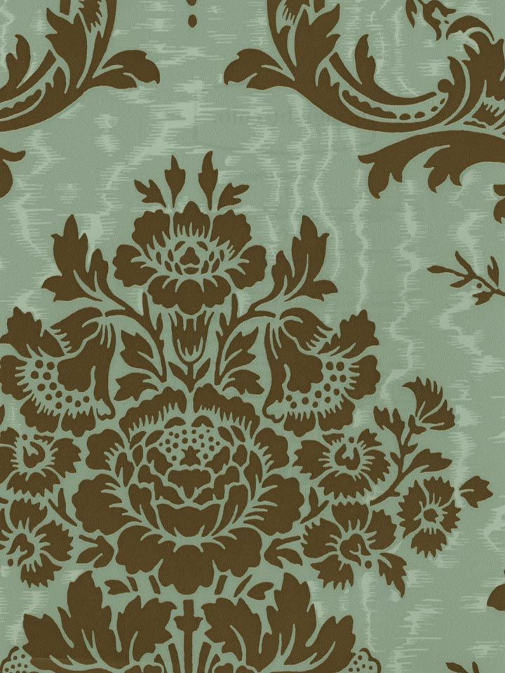 Shh...Green Wallpaper is on sale for March! Seafoam Damask