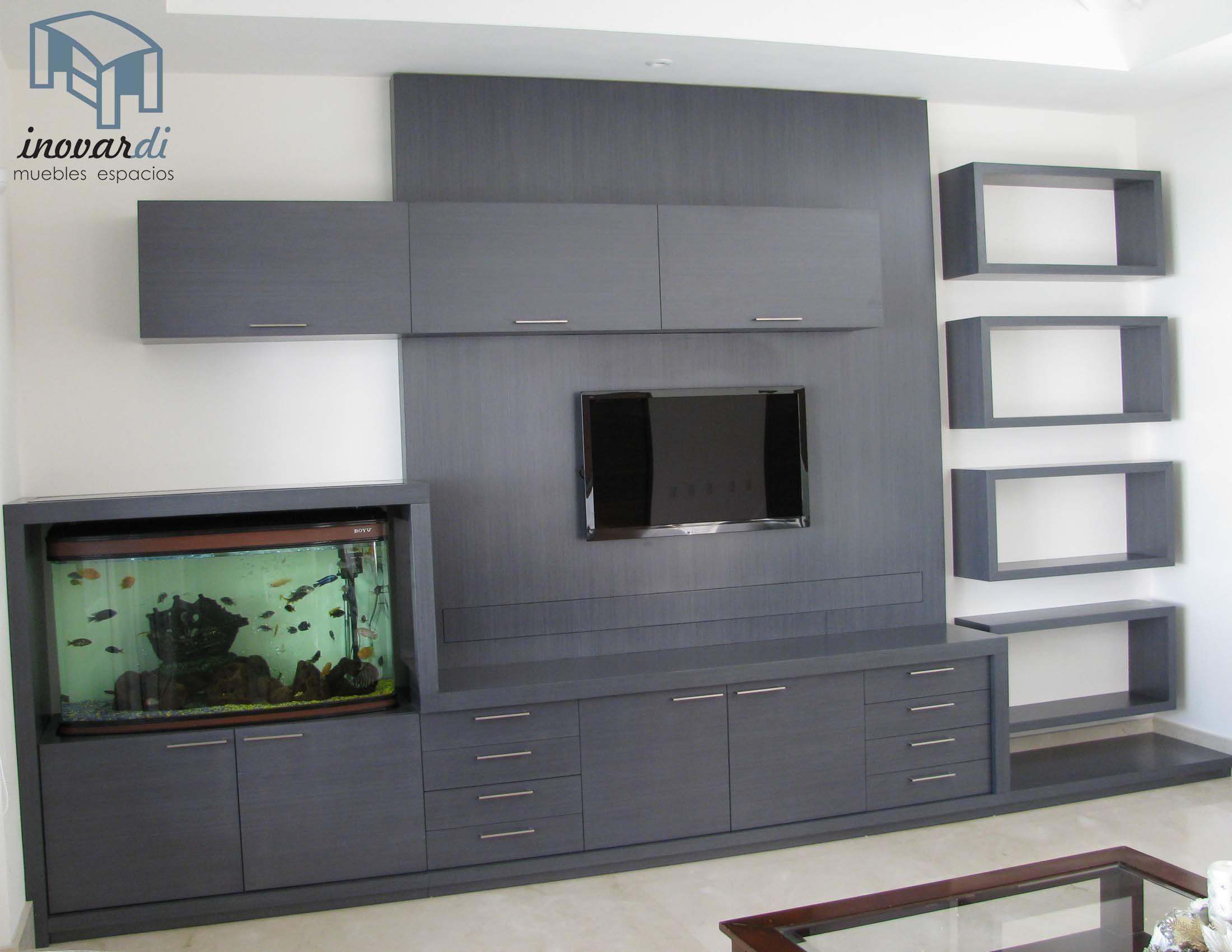 Centro de entretenimiento con pecera decoraci n hogar en - Pecera de pared ...