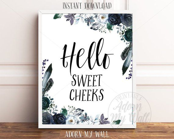 Items similar to Hello Sweet Cheeks, Bathroom Wall Art, Bathroom Print, Bathroom Signs, Funny Bathroom Quote, Funny Toilet Wall Art, Sweet Cheeks Printable on Etsy