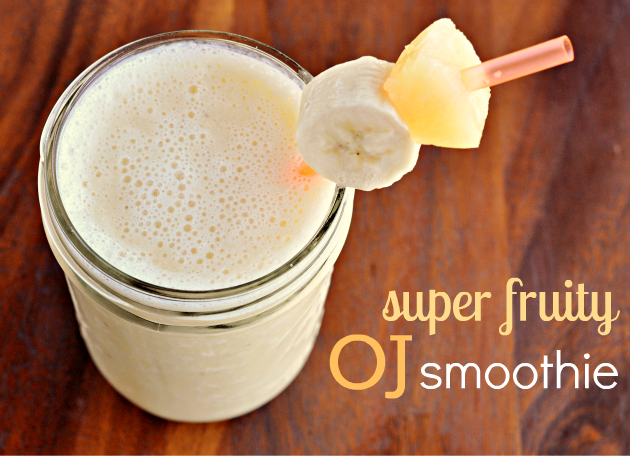 Super Fruity OJ Smoothie  1 cup orange juice  1/3 cup milk  1/3 cup pinapple chunks  1 large banana  2 cups of ice  then put in small straw with pinapple and banana on it