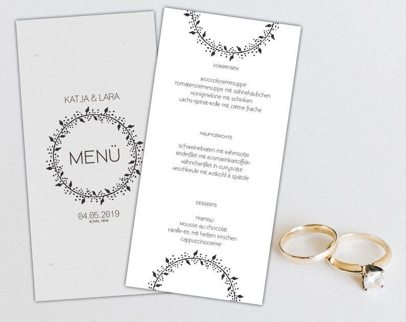 Menukarte Hochzeit Getrankekarte Hochzeit Buffetkarte Hochzeit Speisekarte Hochzeit Hochzeitsmenu Selber Ausdrucken Tischkarten Bullet Journal