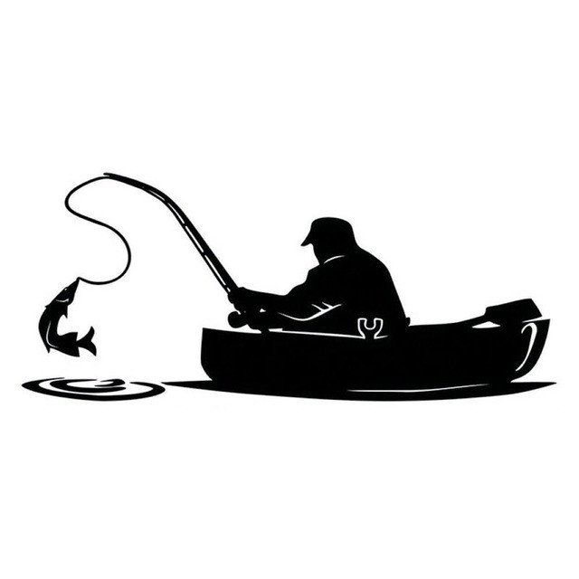 Fisherman Fishing On Board Vinyl Decals Impulse Discounts Fish Silhouette Fishing Decals Boat Decals