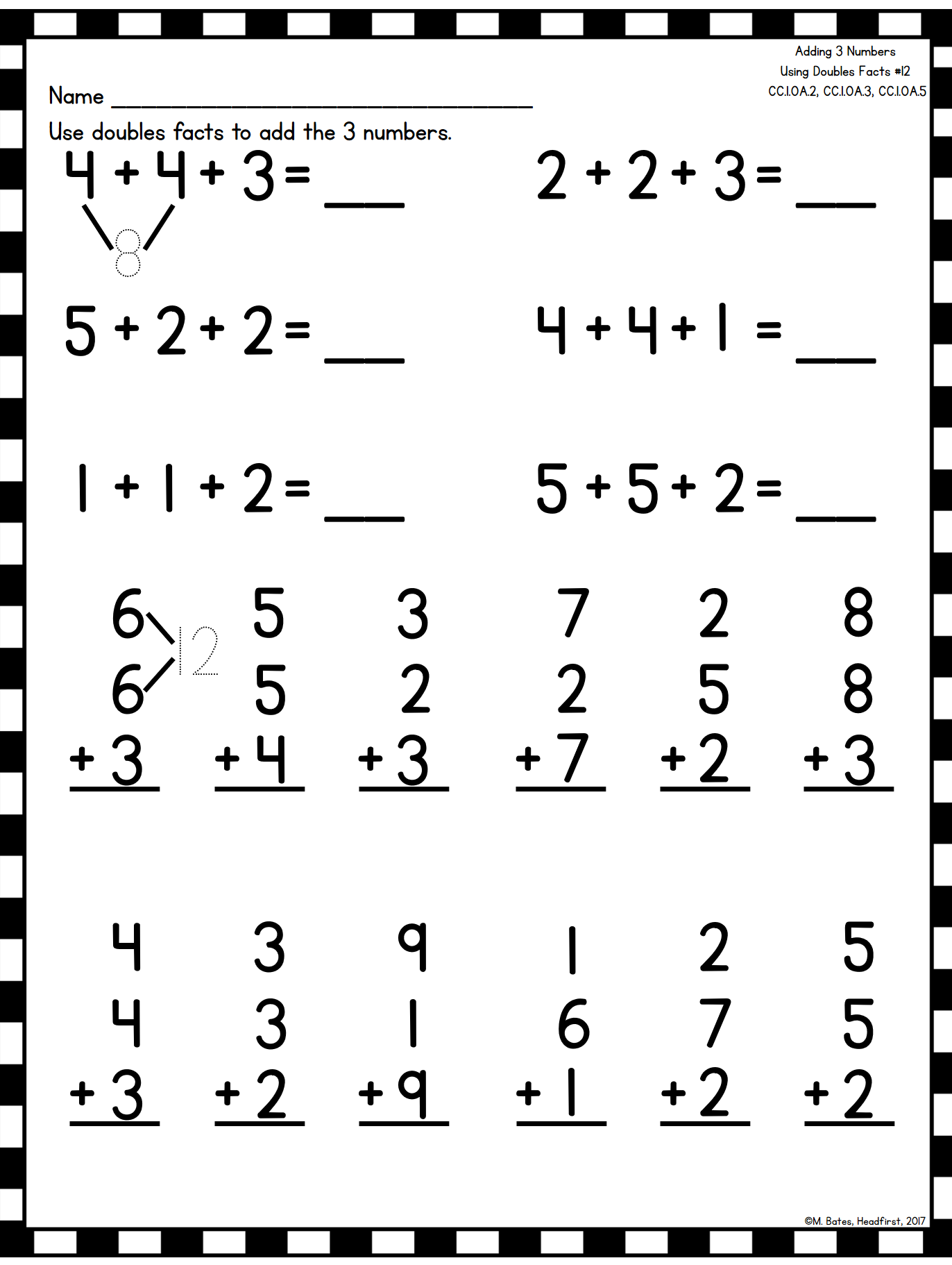Adding 3 Numbers   First grade math worksheets [ 1822 x 1372 Pixel ]