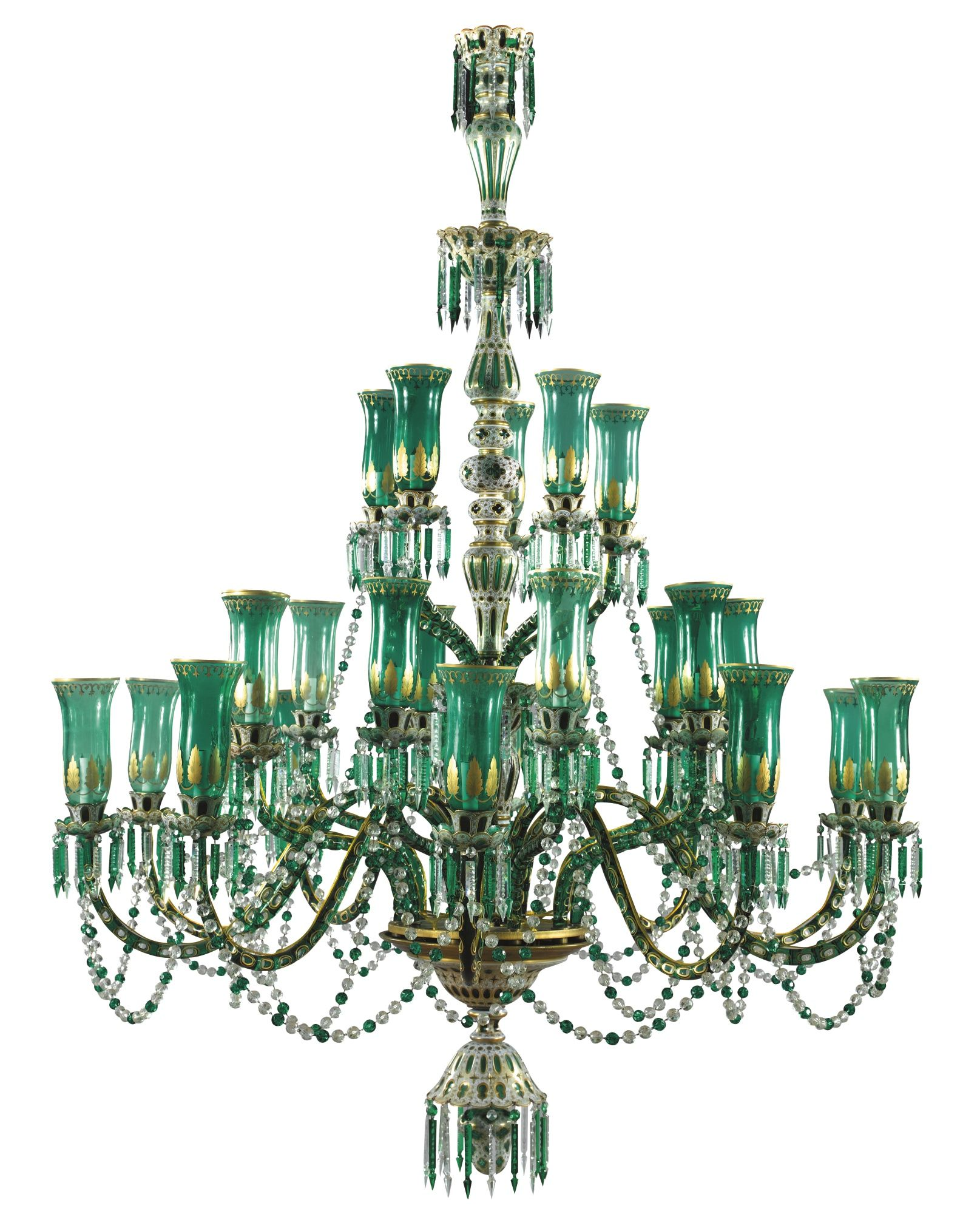 A pair of green glass chandeliers for the indian market bohemia chandelier aloadofball Gallery