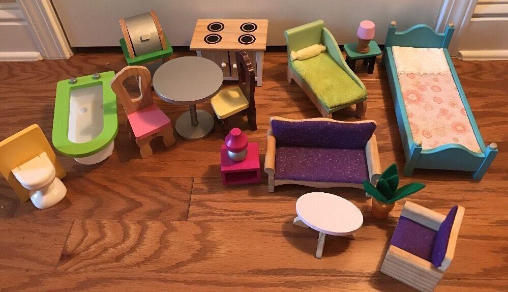 Kidkraft Toys R Us Barbie Wood Wooden Dollhouse Furniture Lot Bed