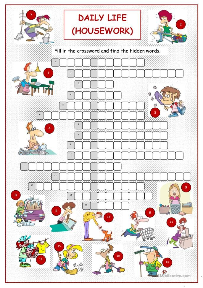 Daily Life Housework Vocabulary Pinterest Worksheets
