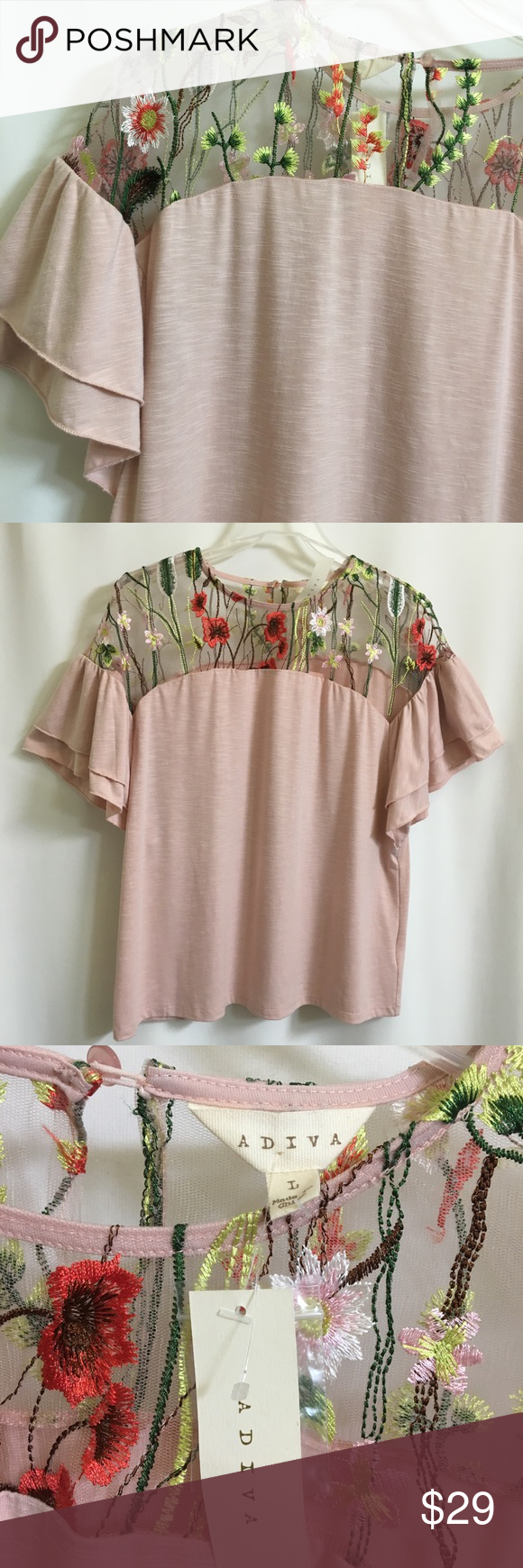 fd21a59d438 ... with lace insert New ADIVA blouse in pale pink Embroidered floral lace  top Short sleeves    2 layer ruffle One button closure on back Size - Large  ...
