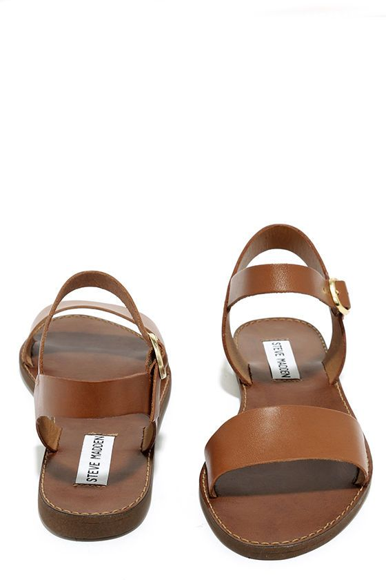 4e56a842dc8 Steve Madden Donddi Tan Leather Flat Sandals at Lulus.com!