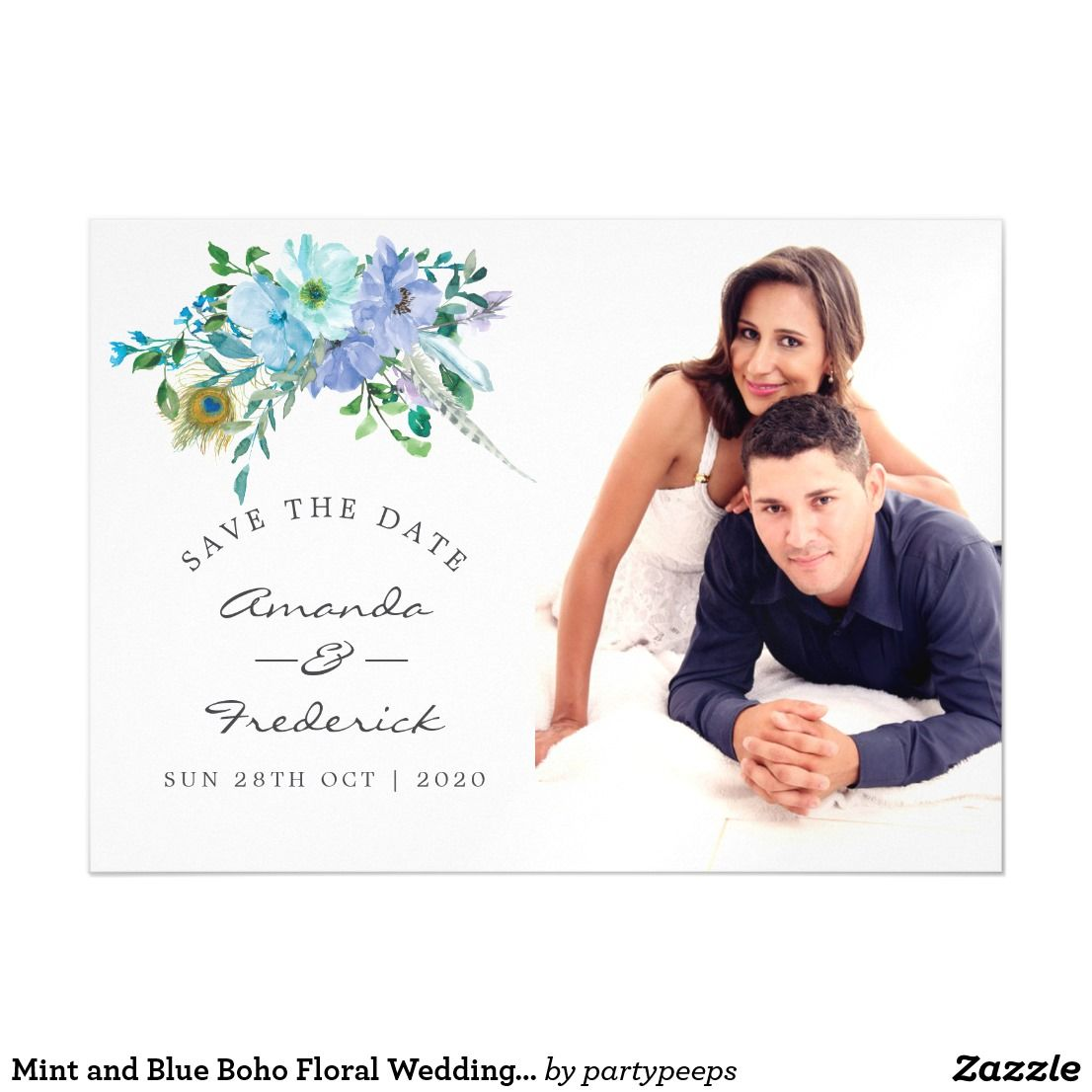 mint and blue boho floral wedding save the date magnetic invitation