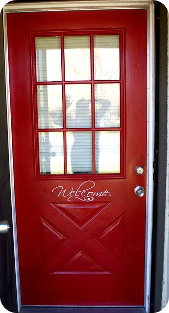 Also Glidden Red Dlicious...looks a little different on this door ...
