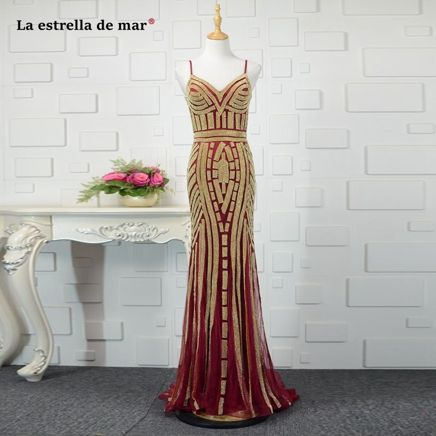 Vestido formatura lace crystal sexy mermaid burgundy gold prom