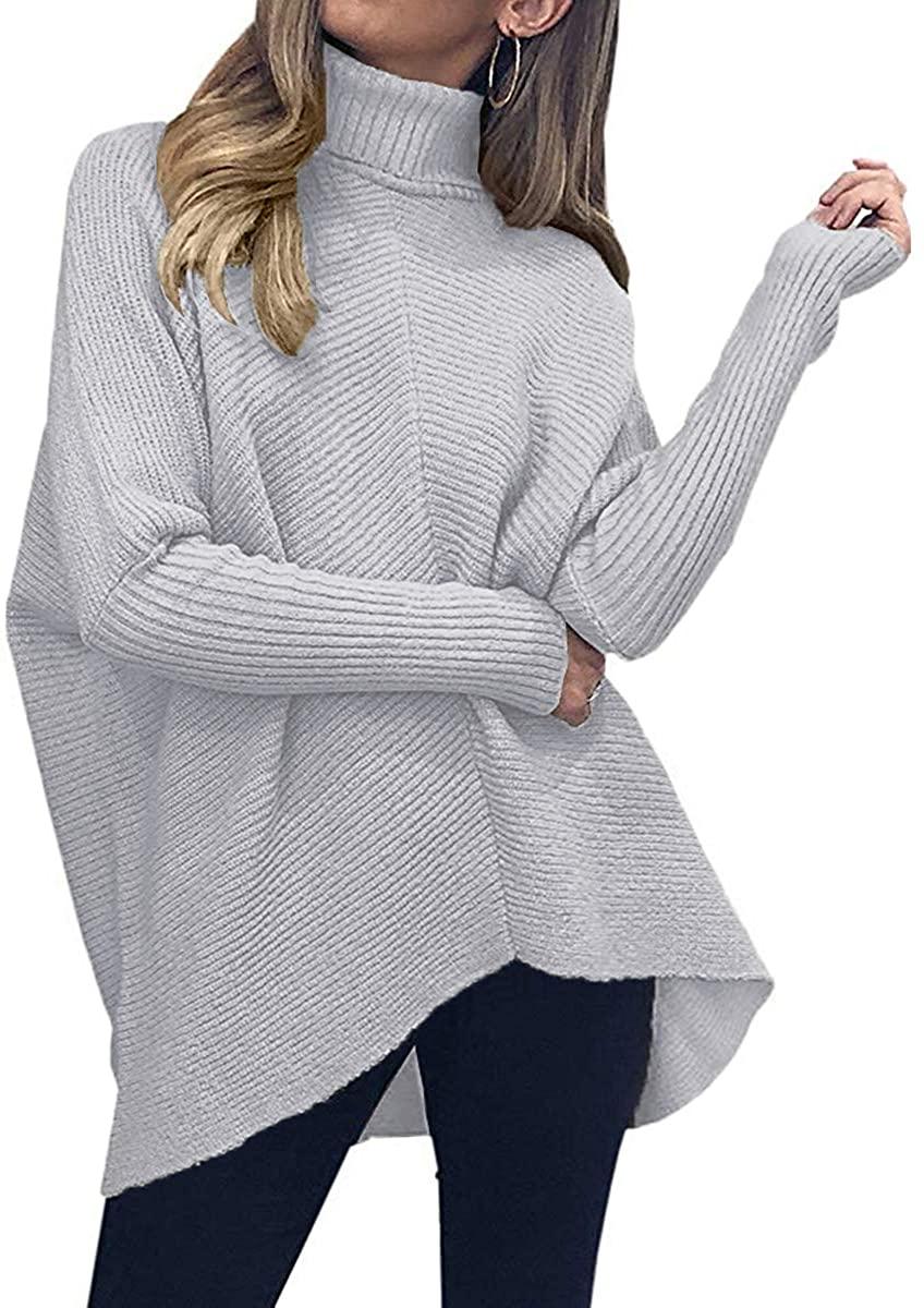 Womens Ladies High Neck Shirt Hem Fine Knitted Bell Sleeve Jumper Sweater Top