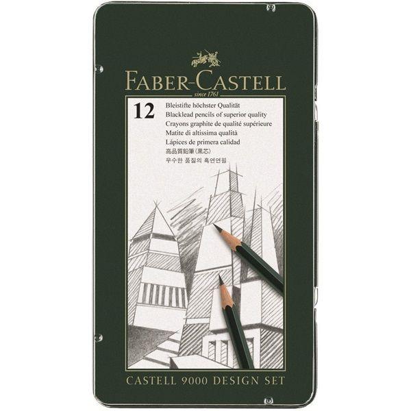 Graphite Pencil Castell 9000 Design Set The Design Set Contains 12 Castell 9000 Pencils In Hardness Grades 5b Pencil Design Faber Castell Graphite Pencils