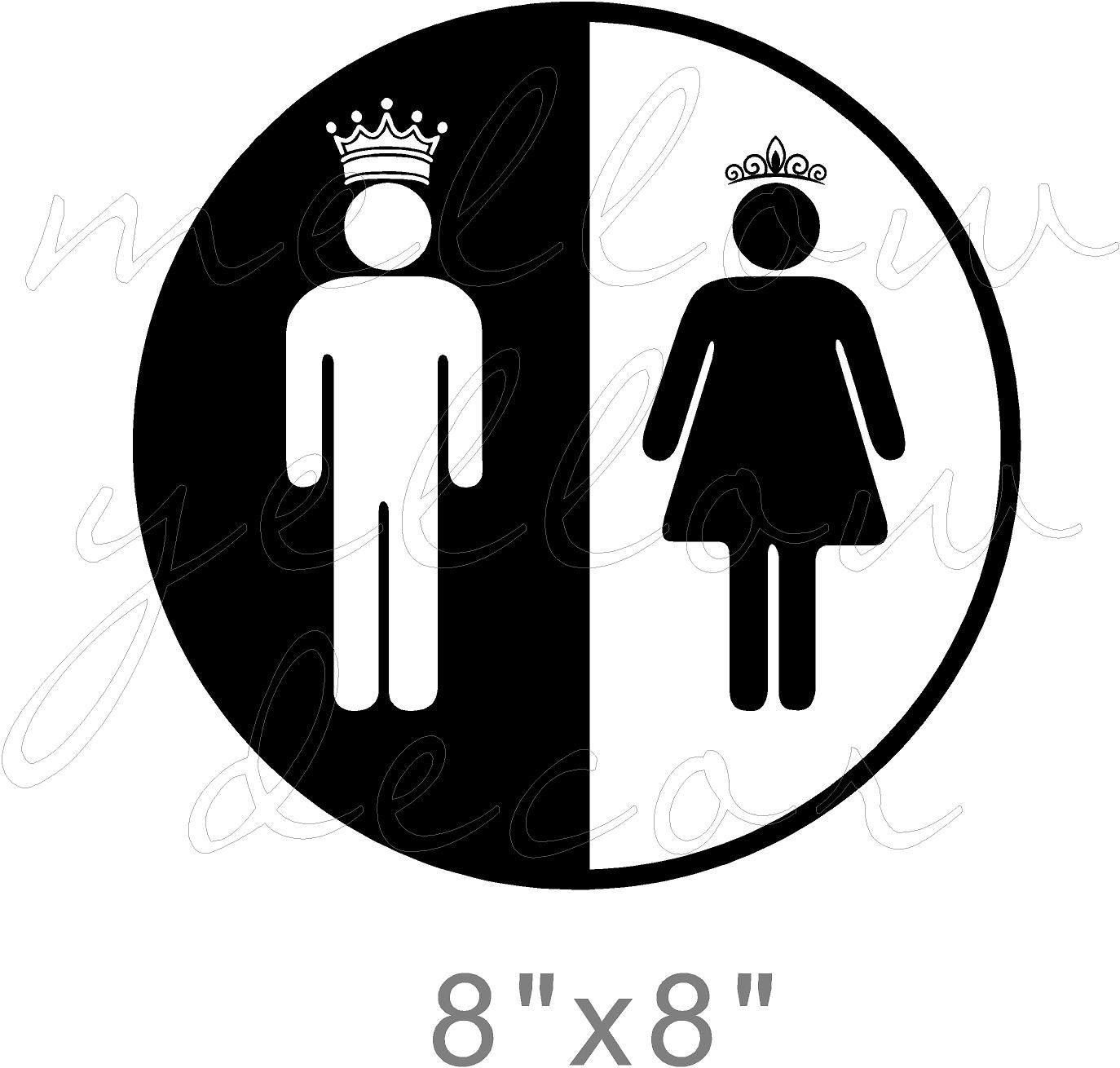 King And Queen Bathroom Vinyl Wall Decal Restroom Throne