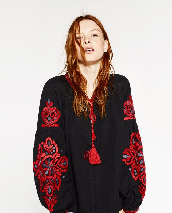 Image 1 of EMBROIDERED SLEEVE BLOUSE from Zara