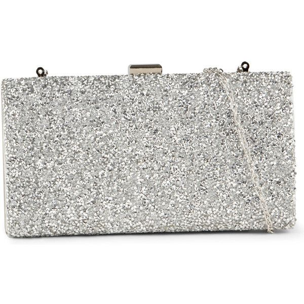 ALDO Sagronmis ($45) ❤ liked on Polyvore featuring bags, handbags, clutches, silver, aldo handbags, white clutches, rhinestone studded handbags, holiday handbags and evening clutches