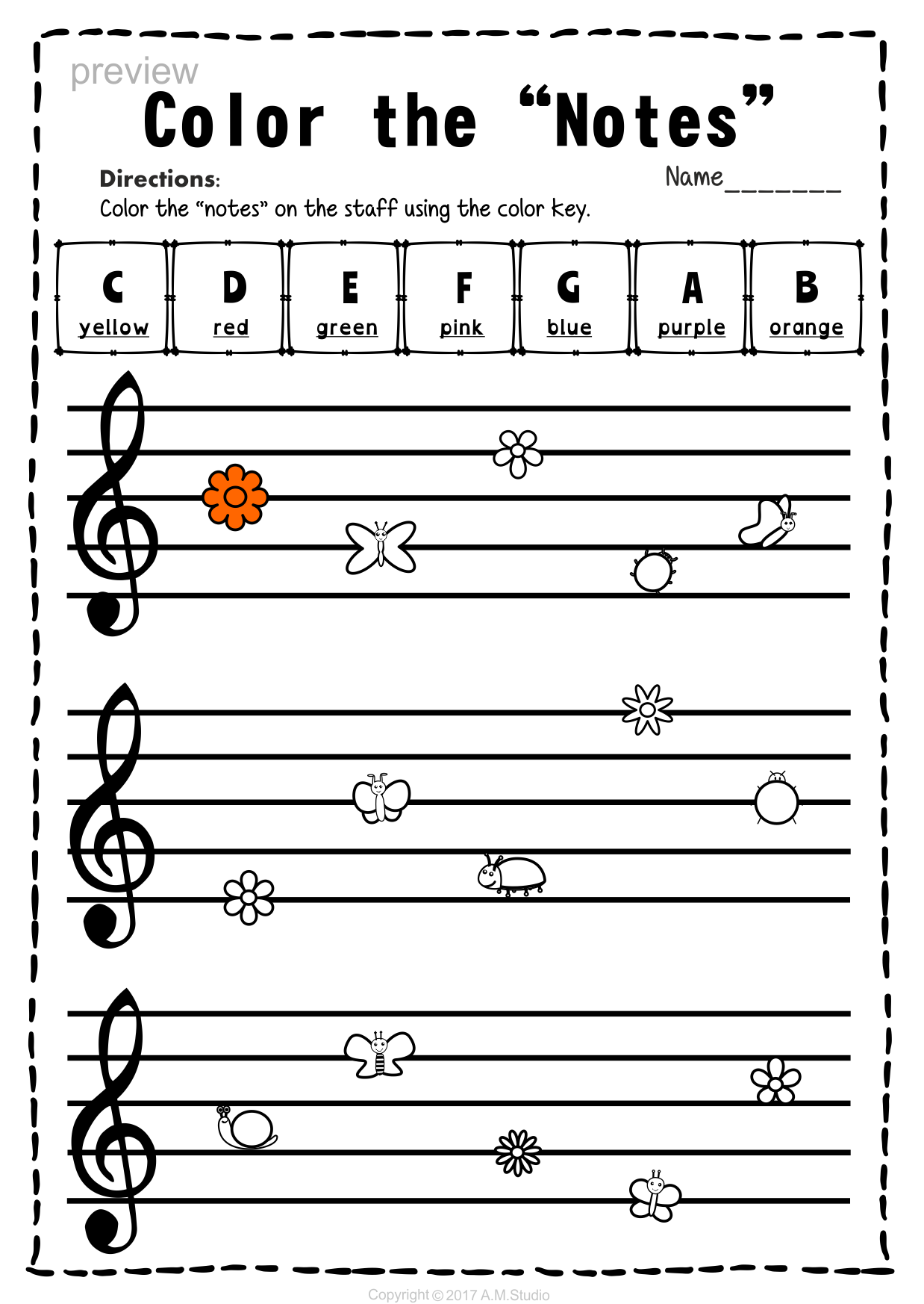 Treble Clef Note Naming Worksheets For Spring With Images