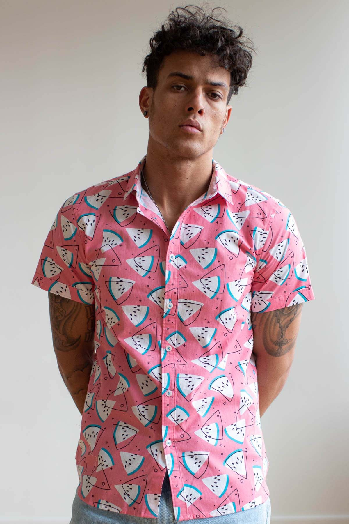 Retro Pop Watermelon Woven Button Up Shirt #retropop