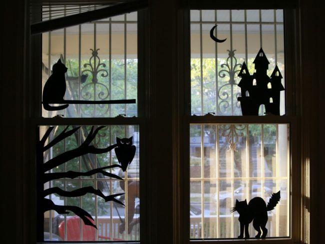 fensterdeko halloween fensterbilder selber machen schwarzer karton halloween decoraci n. Black Bedroom Furniture Sets. Home Design Ideas