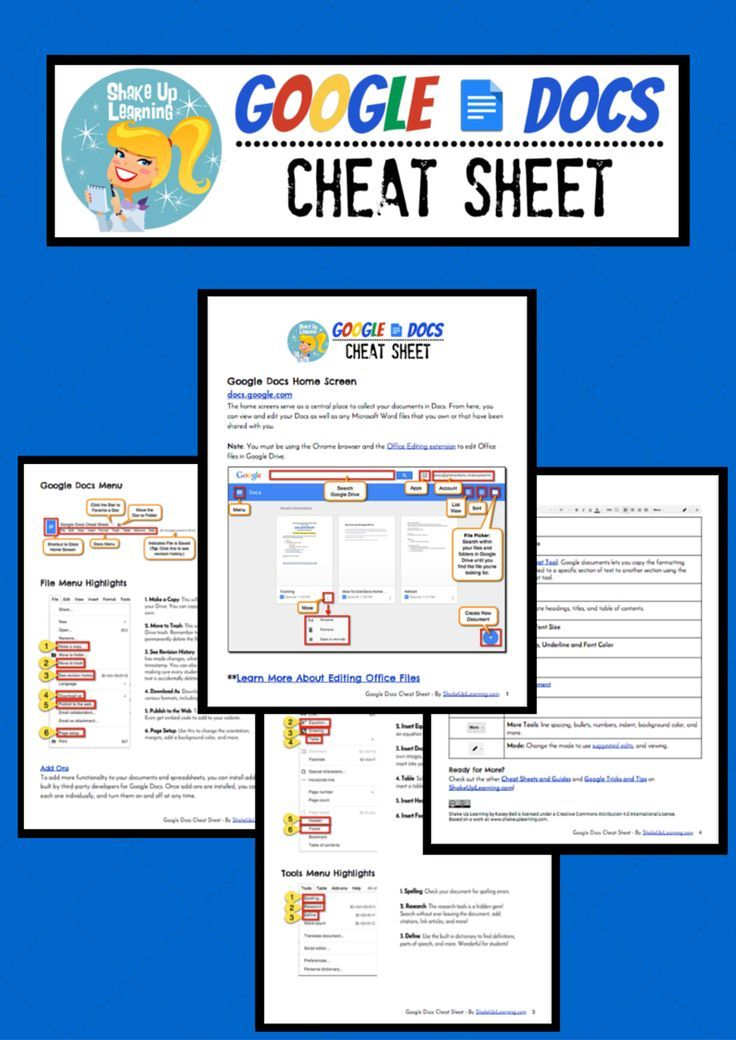 Google Docs Cheat Sheet for Teachers and Students! google