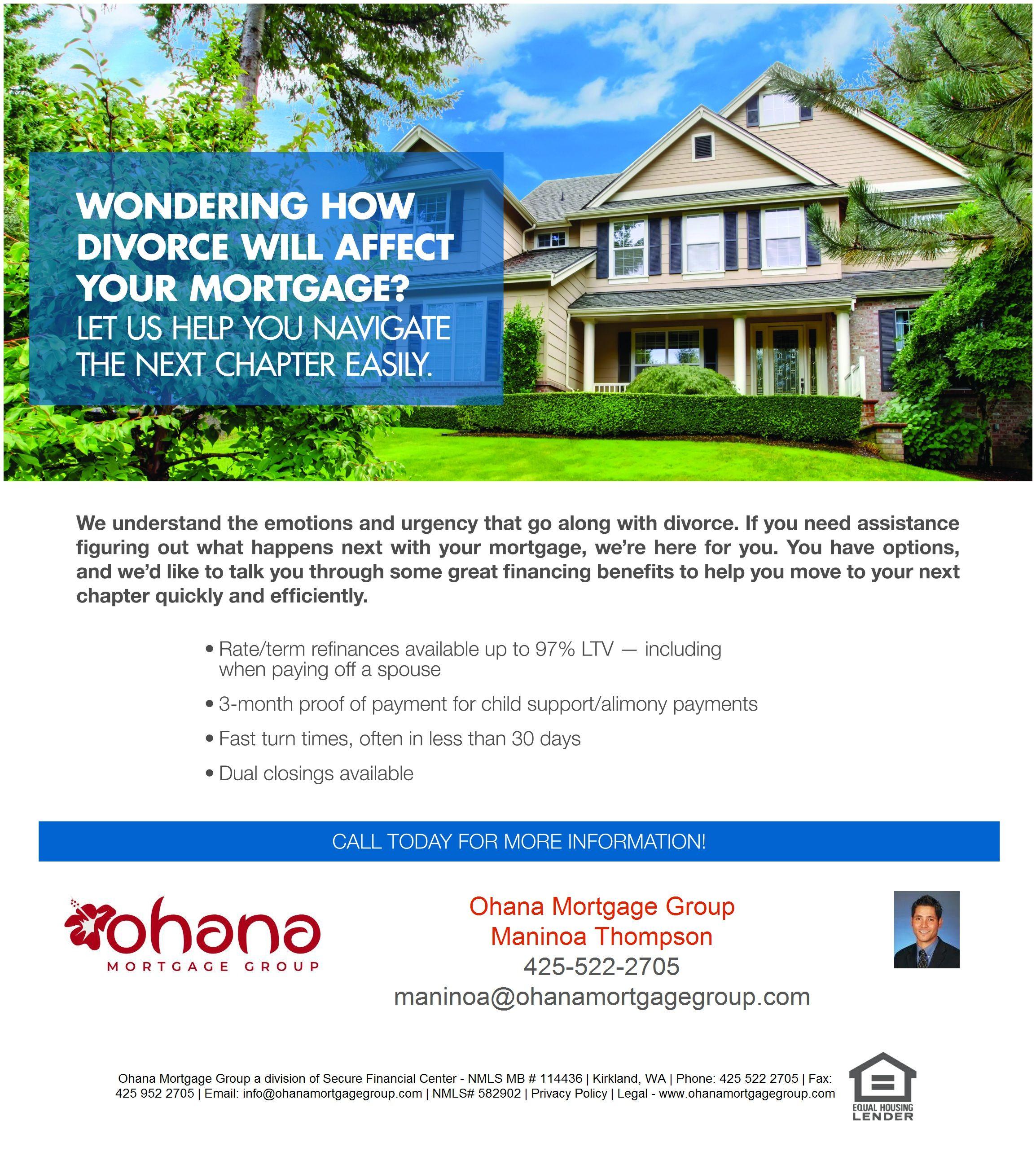 The Next Chapter After Divorce Home Loans Puget Sound Washington Divorce
