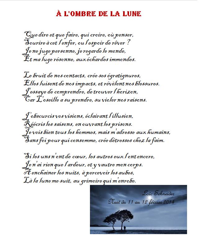 104 à Lombre De La Lune Poeme Poesie Souffrance Ombre