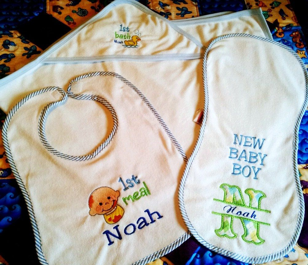 Personalized baby hooded towel gift set baby bib burpcloth bath personalized baby hooded towel gift set baby bib burpcloth bath towel gift set new negle Images