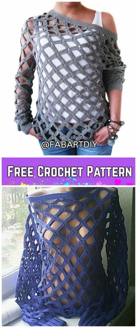Crochet Off Shoulder Net Spring Sweater Free Pattern (Video)