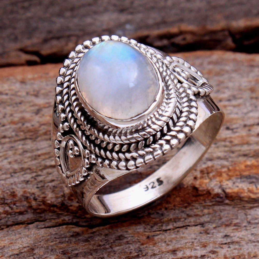 Jewelry Women Rainbow Moonstone Ring Oval Sterling Silver Natural Gemstone New