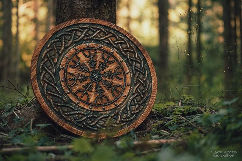 Viking round shield with Helm of Awe symbol