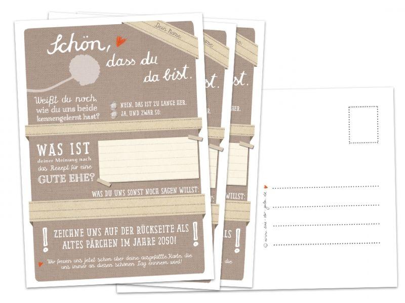 Hochzeitsspiel Schon Dass Du Da Bist Beige Postkarten Spiel Postkartengruss 3 12 26 52 Oder 100 Stuck Mit Bildern Hochzeit Spiele Hochzeitsspiele